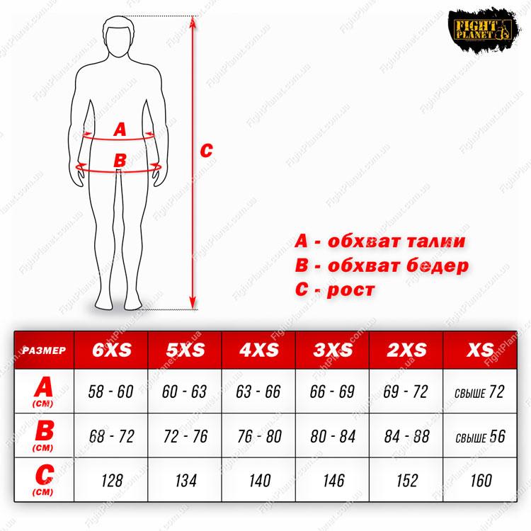 Размерная сетка таблица детские шорты для ММА Berserk