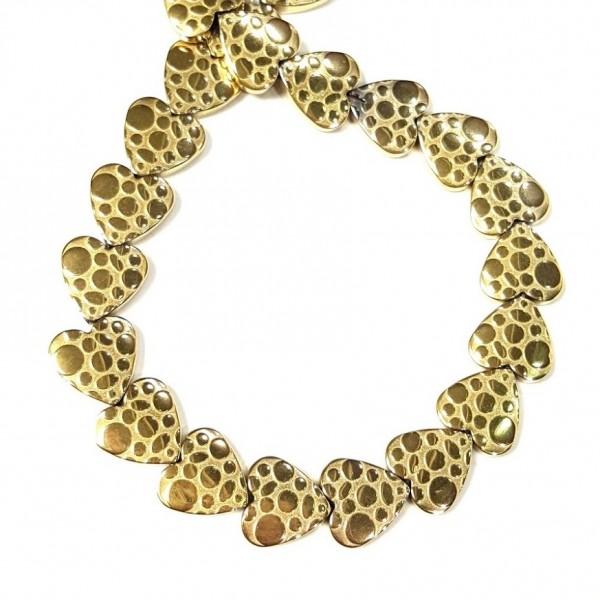 Бусины-сердечки из золотого гематита