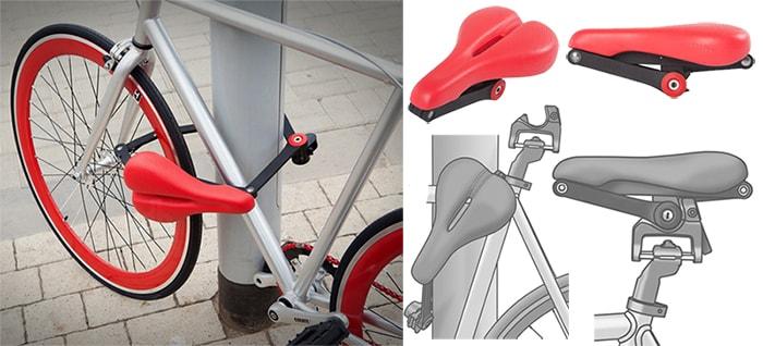 Велосипедне сідло з функцією велозамка