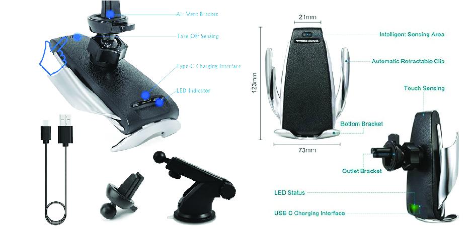 Держатель зарядка автомобильная Penguin Smart Sensor s5