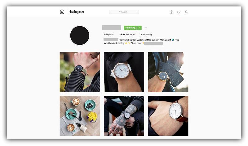 Страница интернет-магазина наручных часов в Instagram