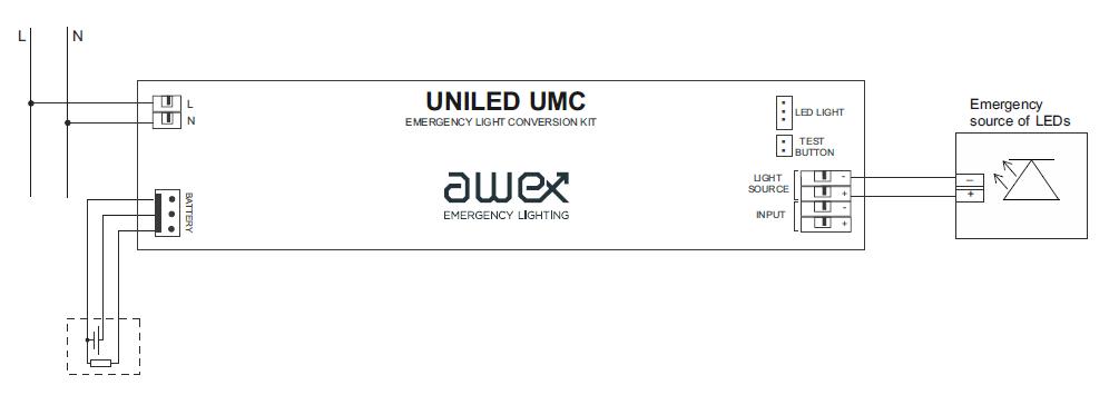 Схема подключения блока аварийного питания UNILED UMC basic к светодиодному светильнику в непостоянном режиме действия