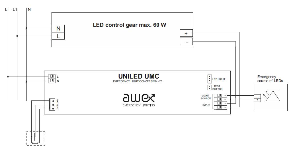 Схема подключения блока аварийного питания UNILED UMC basic к светодиодному светильнику в постоянном режиме действия