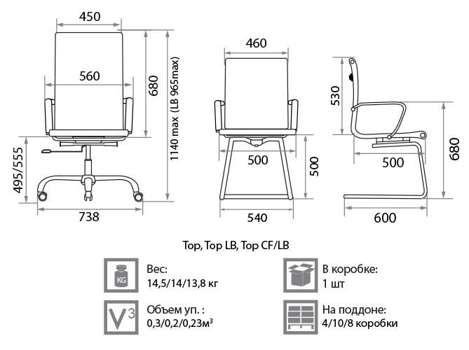 Кресло Топ размеры