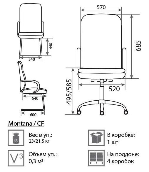 Кресло Монтана размеры