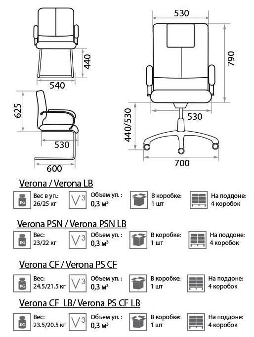 Размеры кресла Верона