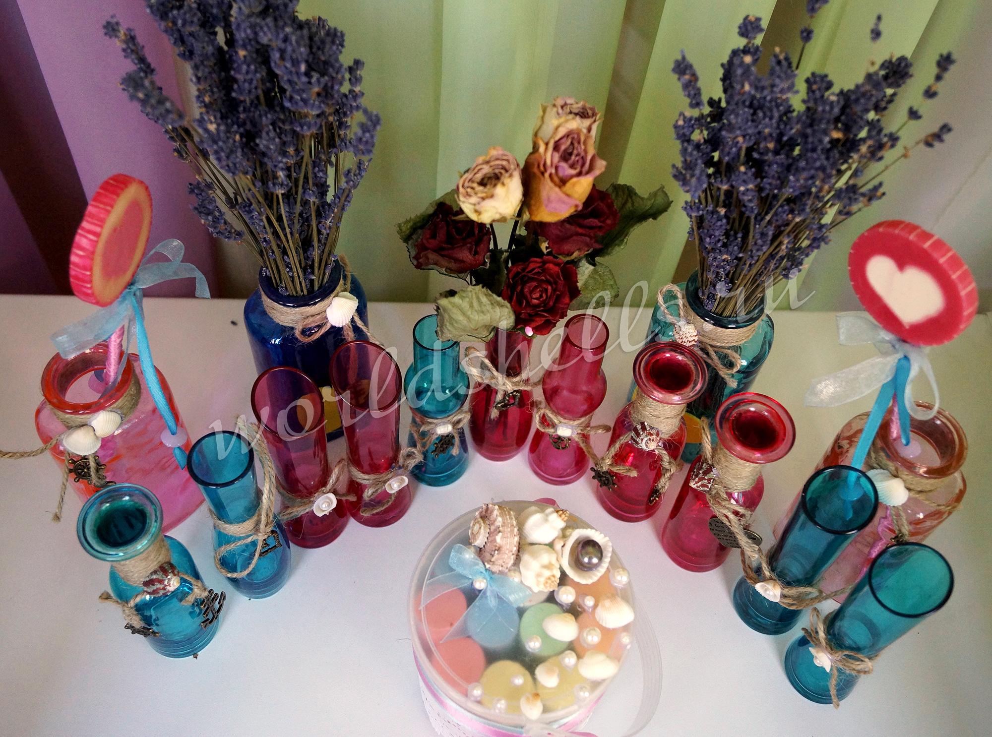 Украшение стеклянных ваз в морском стиле