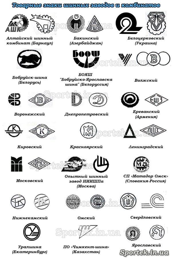 Маркування виробників радянських покришок