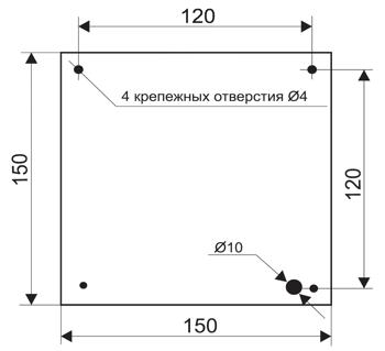 Установочные размеры для оповещателя пожарного табло МИНИ-220 с подсветкой вниз