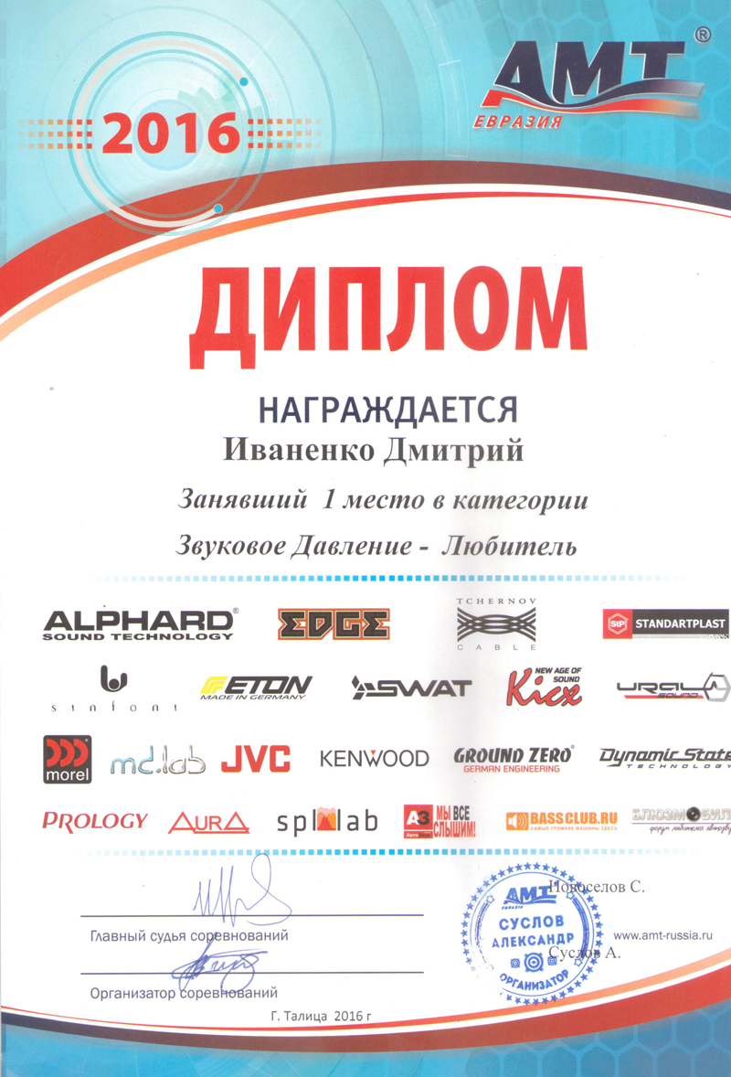 1 место АМТ Талица 2016