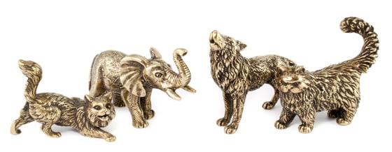 Бронзовые фигурки коты, слоны и волк.