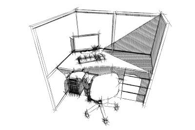 Рабочее место на основе перегородок и столешницы