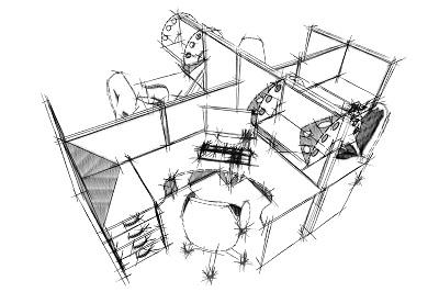 4 места call-центра с полочками
