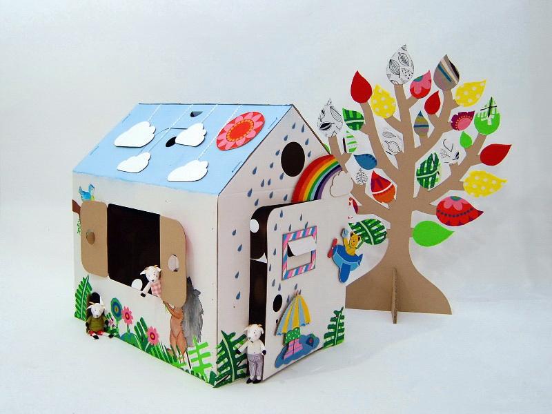 Домик из картона,домик из картона в садик,домик из картона для детей