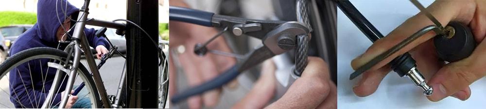 Як перекушують трос велосипедного замка або розкривають його відмичкою