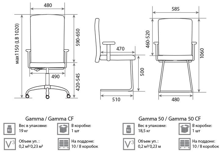 Кресло Гамма размеры
