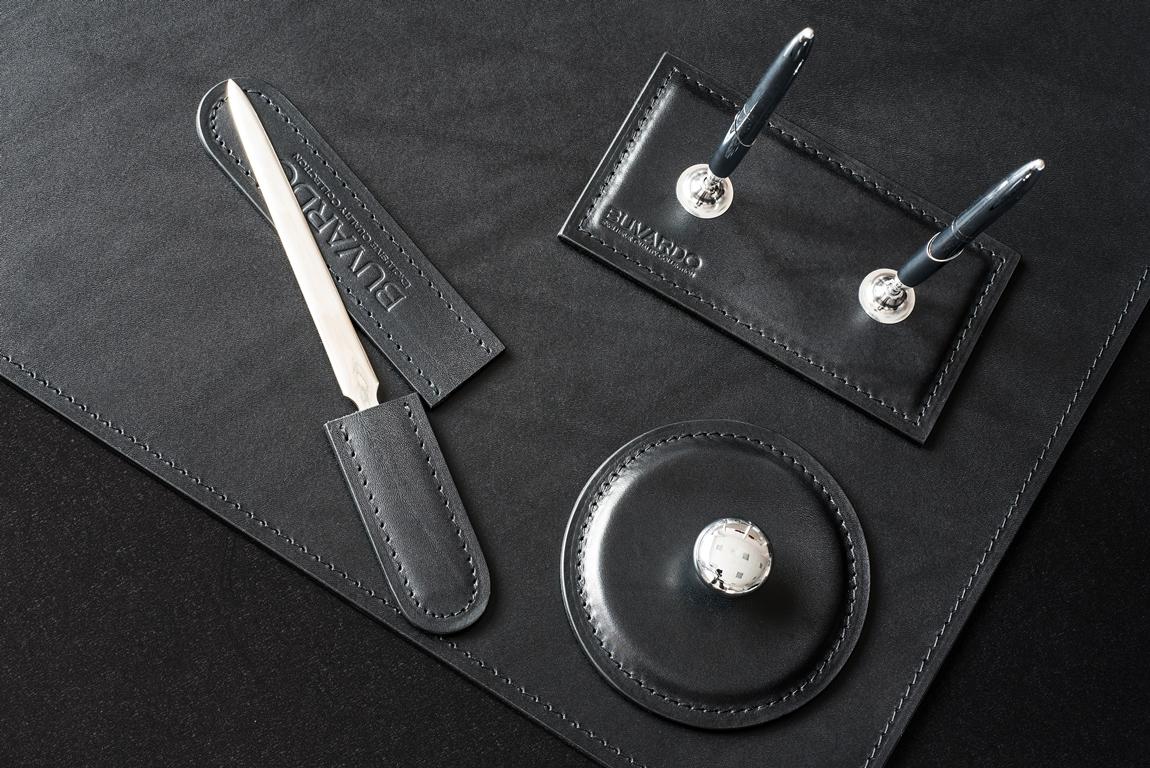 аксессуары люкс кожаные черные для письменного стола