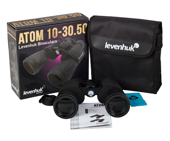 Бинокль Levenhuk Atom 10-30x50: комплект поставки
