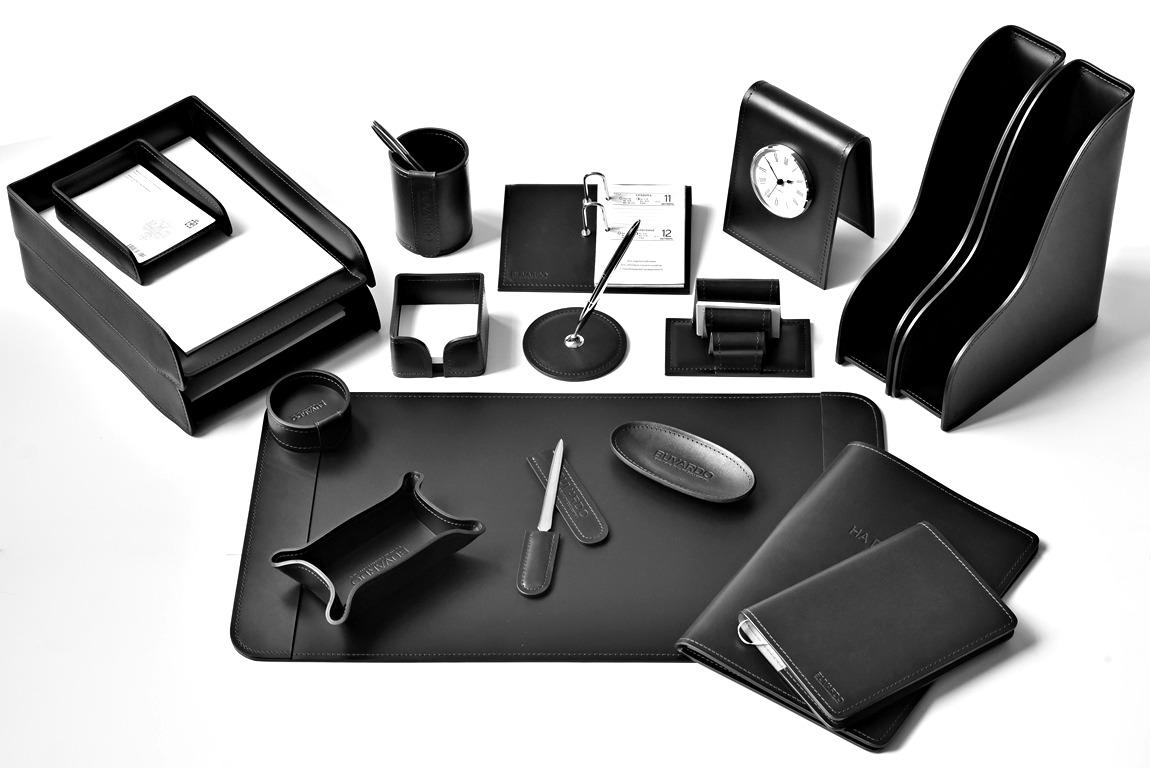 набор для руководителя черный премиум кожаный с папкой для документов buvardo