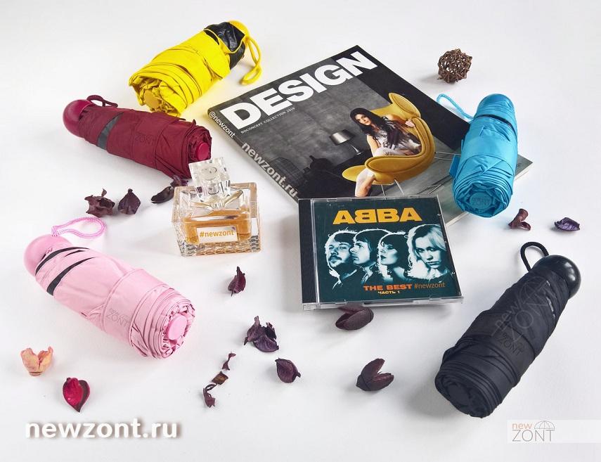 Желтый, голубой, бордовый, черный и розовый мини-зонтики в чехле-капсуле