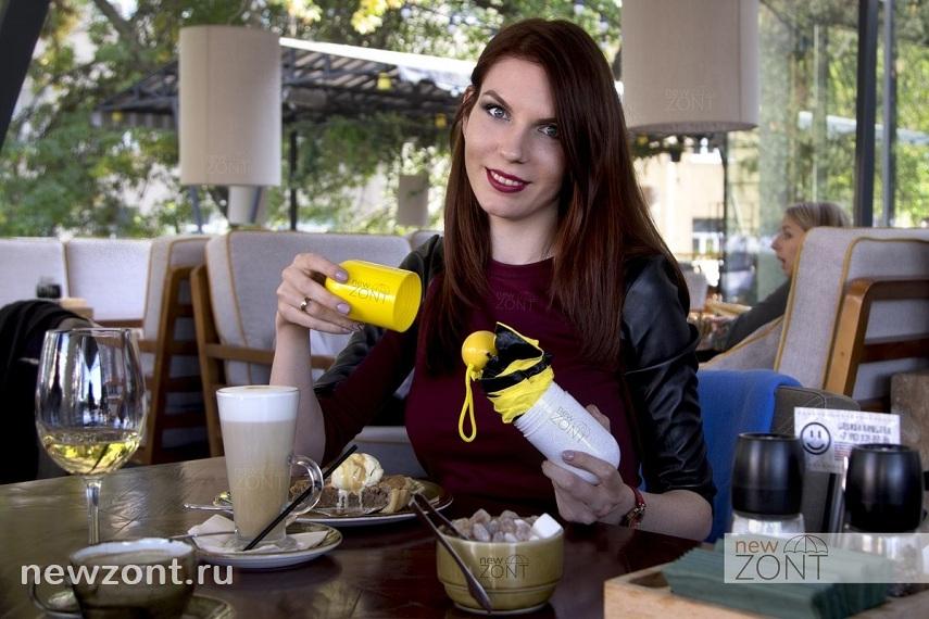 Желтый женский лёгкий зонтик мини