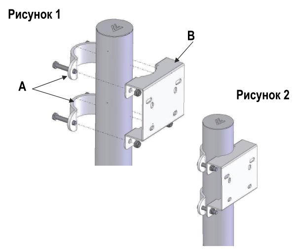 Кронштейн оцинкованный для установки на столб 76 или 102 мм