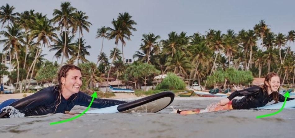 Правильная гребля в серфинге