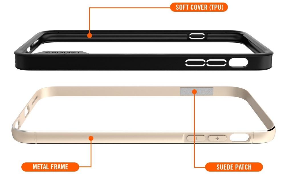 Противоударные, металлические бамперы премиум класса Sgp Spigen Case Neo Hybrid EX Metal Bumper для iPhone 6 и 6s.