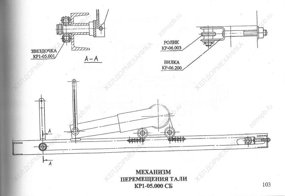 Стр. 103 Чертеж Механизм перемещения тали КР1-05.000СБ