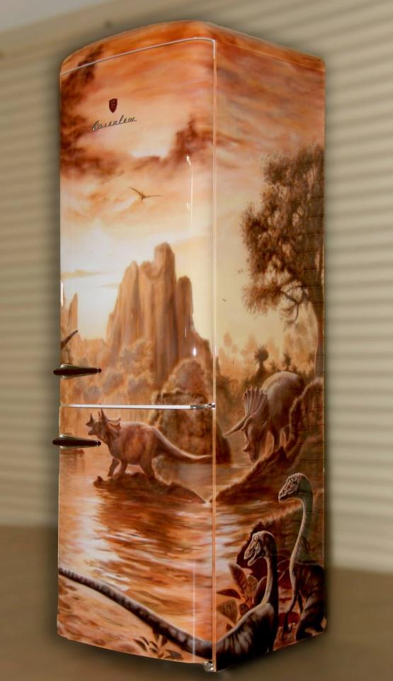 холодильник в стиле аэрографии
