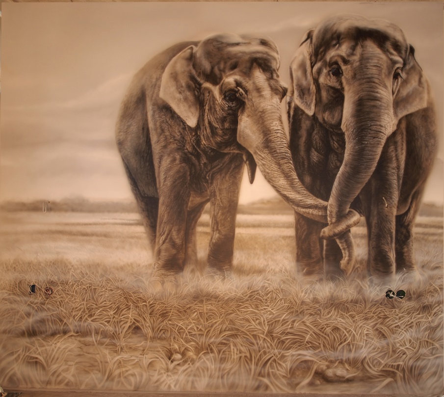 аэрография слоны на стене