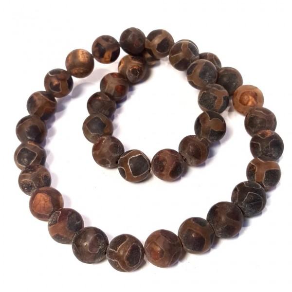 Матовые агатовые бусины Дзи коричневого оттенка