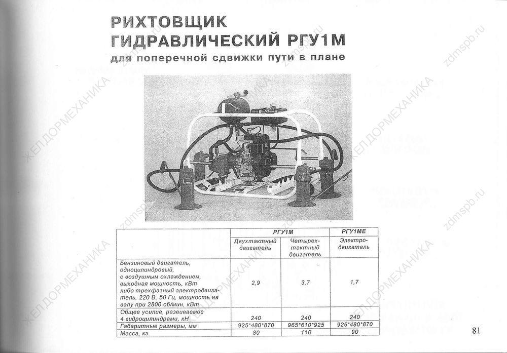 Стр. 81 Рихтовщик гидравлический РГУ1М