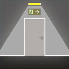 Аварийное освещение отелей перед каждым эвакуационным выходом из помещения