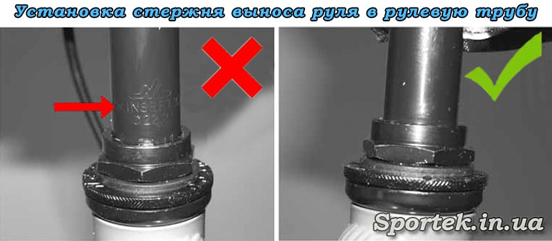 Правильная установка выноса руля велосипеда  в рулевую трубу