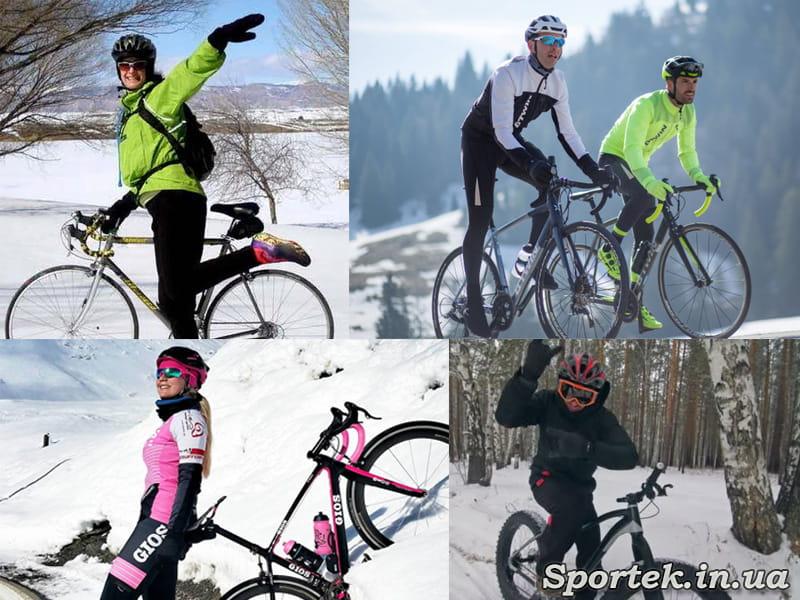 Велосипедные очки зимой на велосипедистах