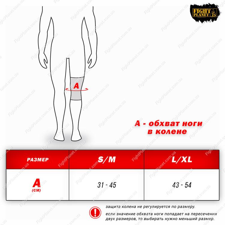 Размерная сетка, таблица защита колена RDX