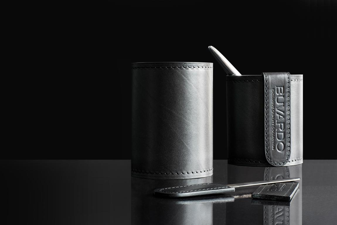 Стакан канцелярский Н12 PREMIUM из кожи Full Grain Black/Cuoietto черный
