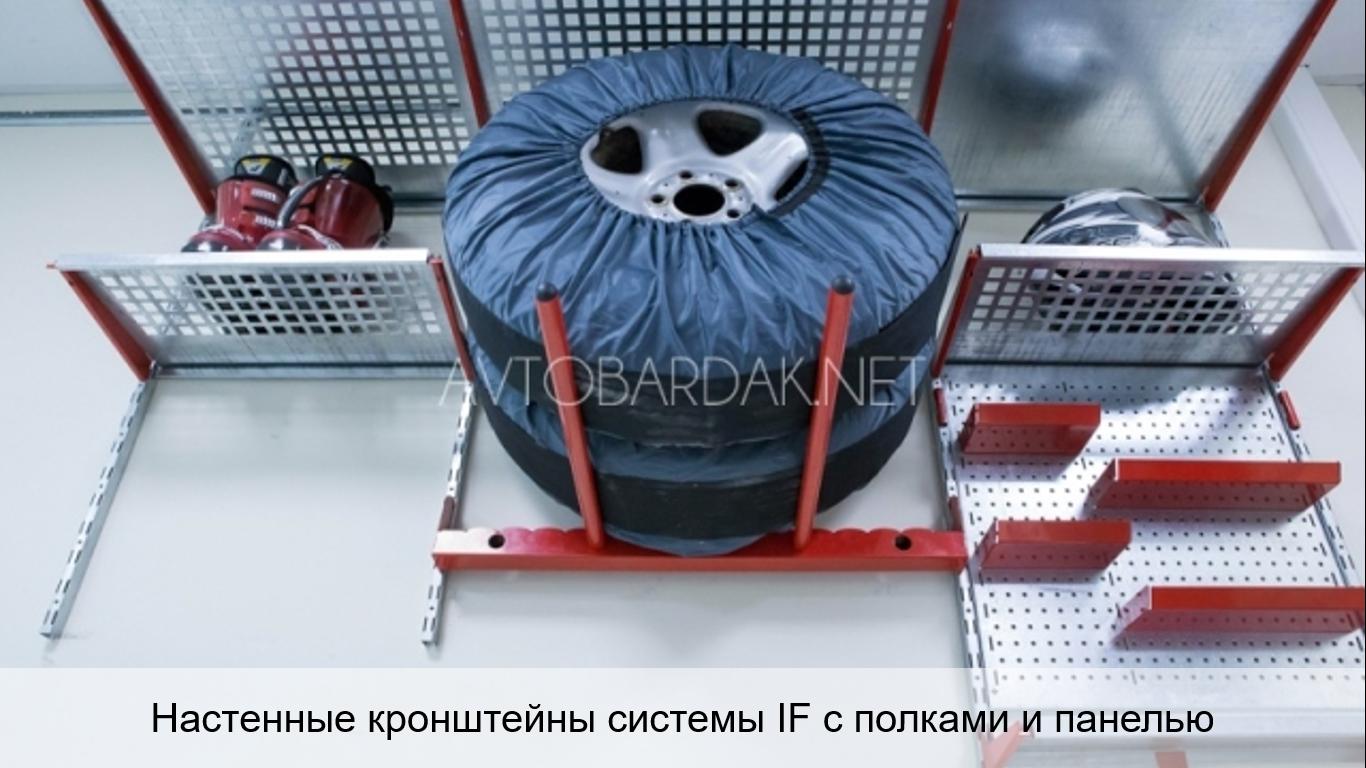 Настенный стеллаж для хранения шин