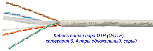 Маркировка кабеля витая пара UTP (U/UTP), категория 6, 4 пары одножильный, серый