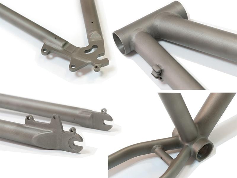 Вид различных частей титановой велосипедной рамы