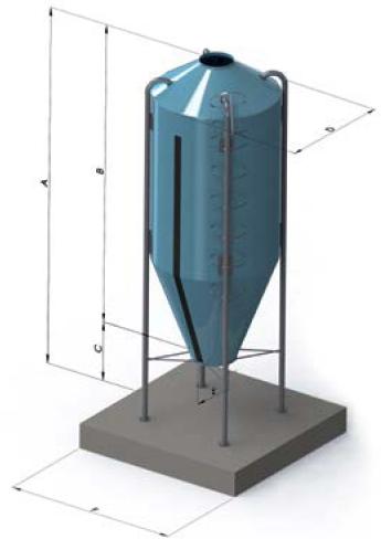 Бункер из стекловолокна для хранения и подачи комбикорма c кормопроводом до 30 метров в комплекте