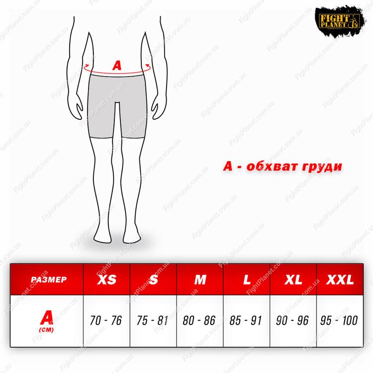 Размерная сетка, таблица шорты RDX для MMA