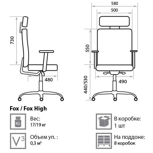 Кресло Фокс размеры