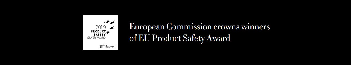 European Commission crown winners of EU Product Safety Award. 2019 PRODUCT SAFETY ★★★★★ SILVER AWAWRD