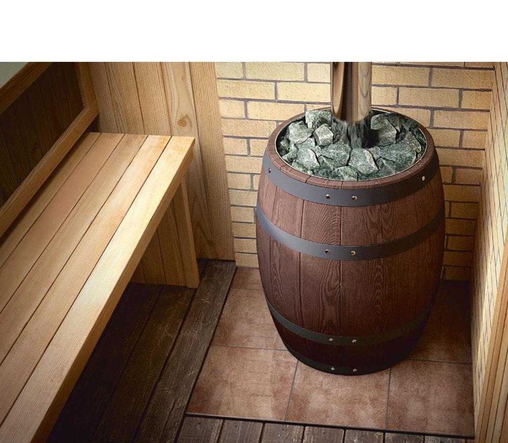 Банная печь Вариата Inox Витра Баррель палисандр