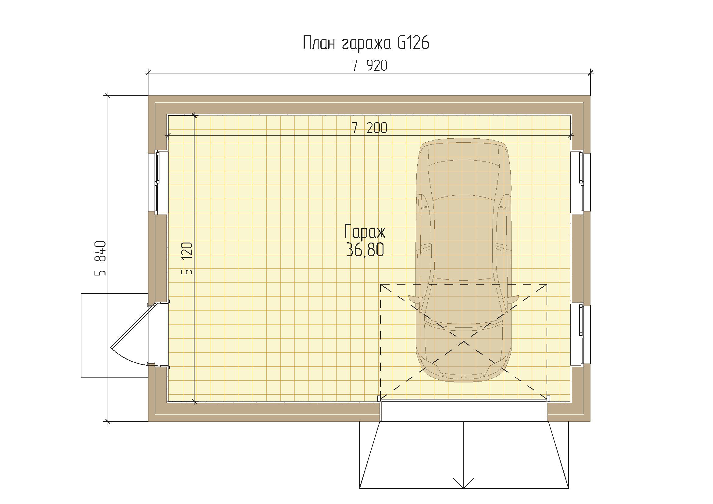 Проект гаража на 1 машину с мастерской