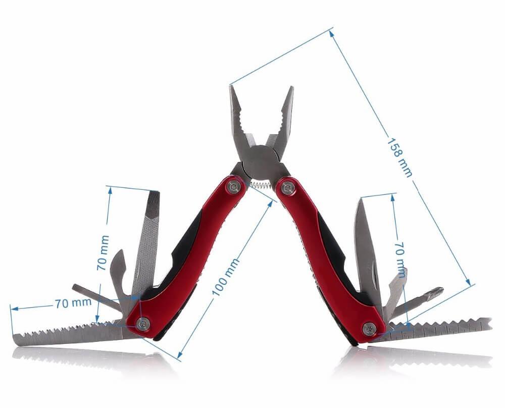 Размеры мультитула и набор инструментов