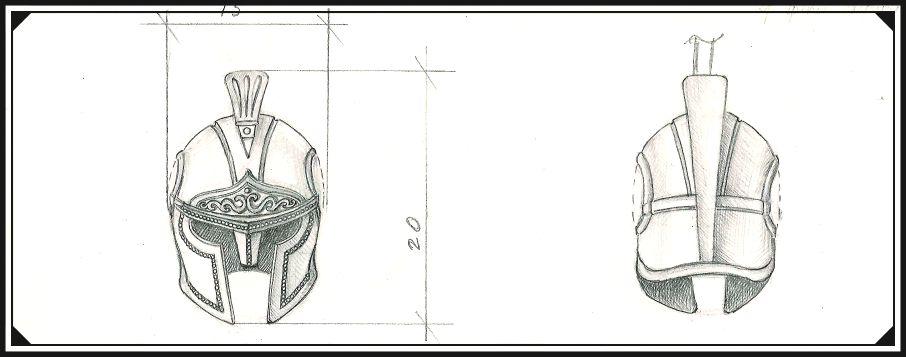 Будущий прототип шарма Шлем, рисунок карандашом.