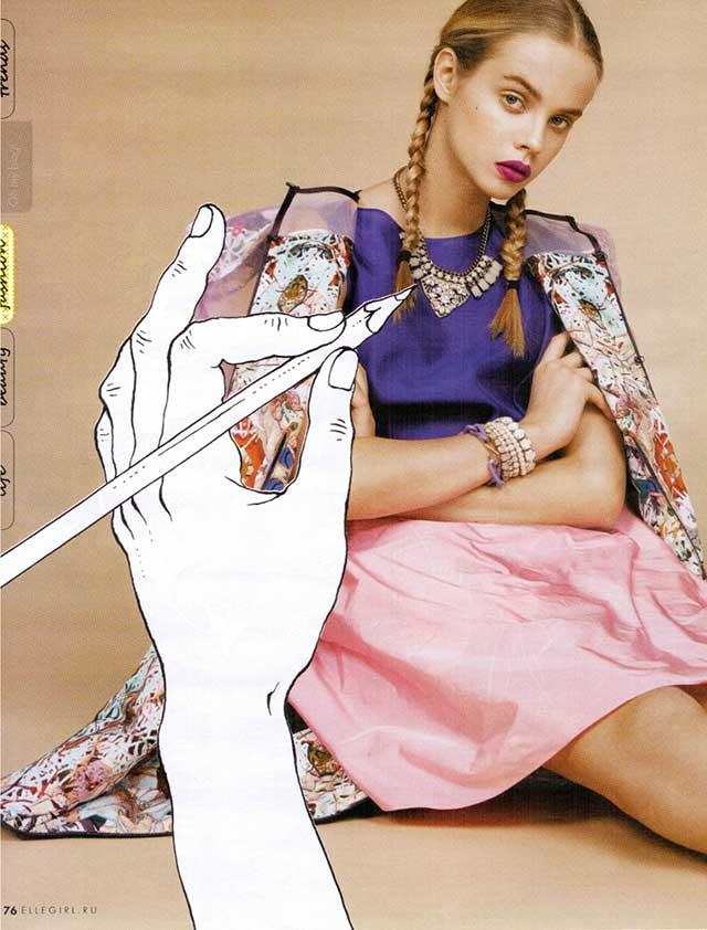 браслет-цепь фиолетового цвета от Sister Sister Project в Elle Girl март 2014